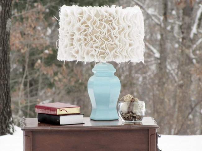 Anthropology Inspired Ruffle Burlap Lamp