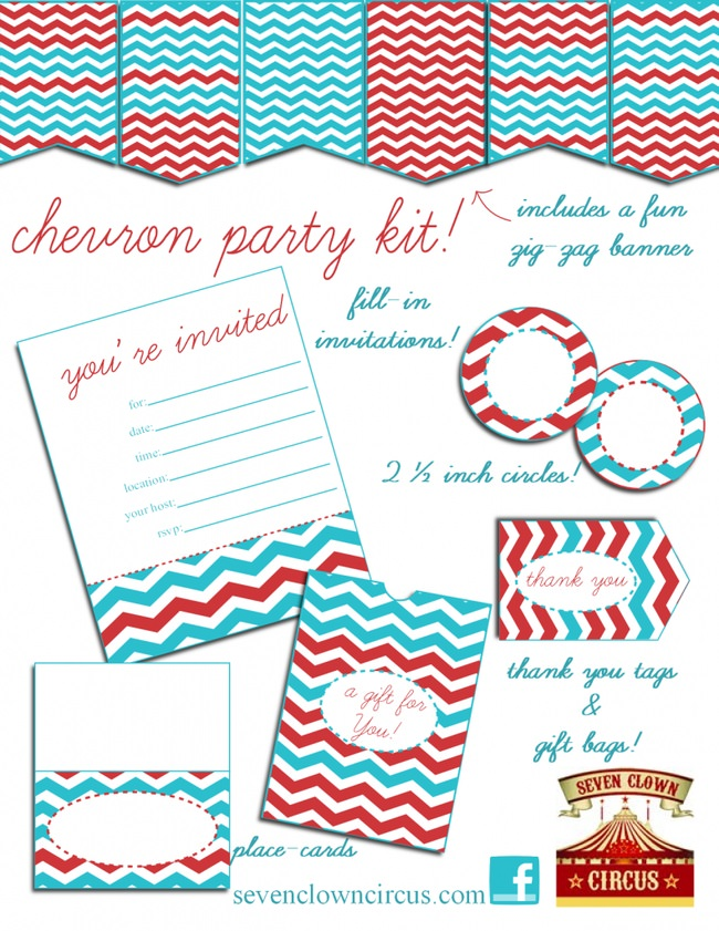 Red and Blue Chevron Party Printables