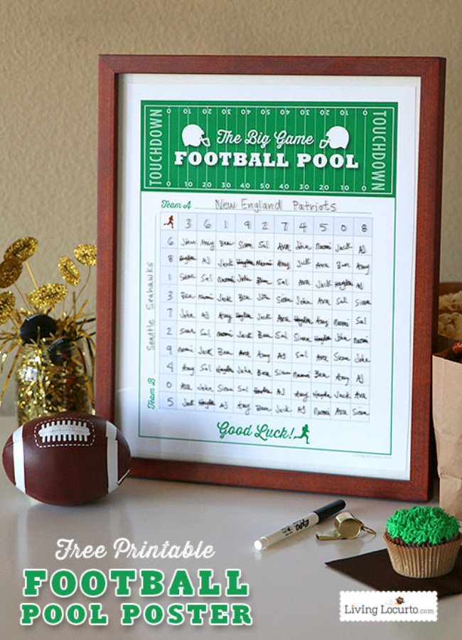 Free Printable Football Squares Poster