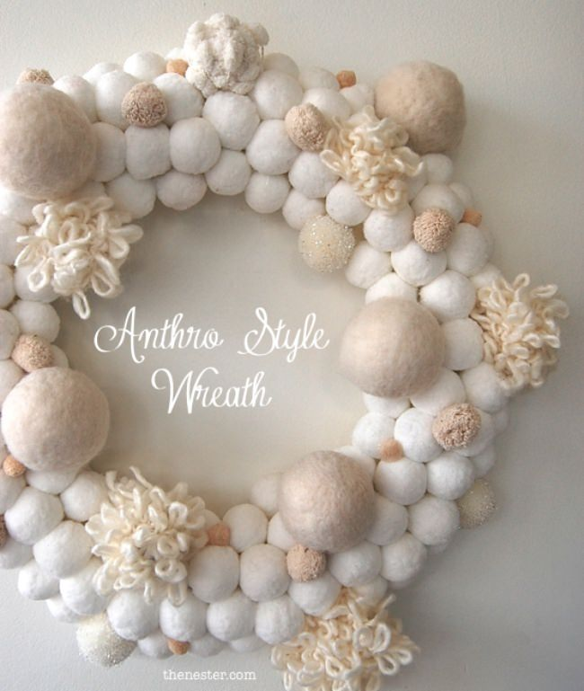 DIY Snowball Wreath Anthropologie Inspired