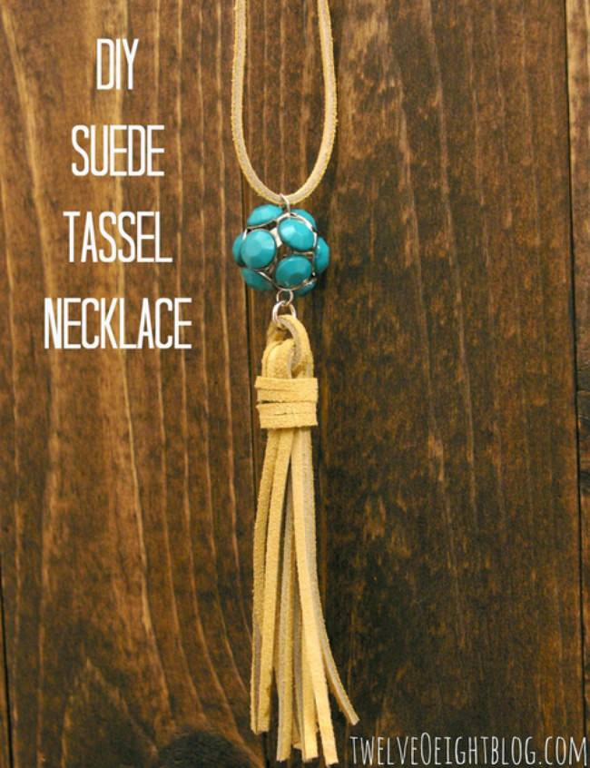 DIY Suede Tassel Necklace