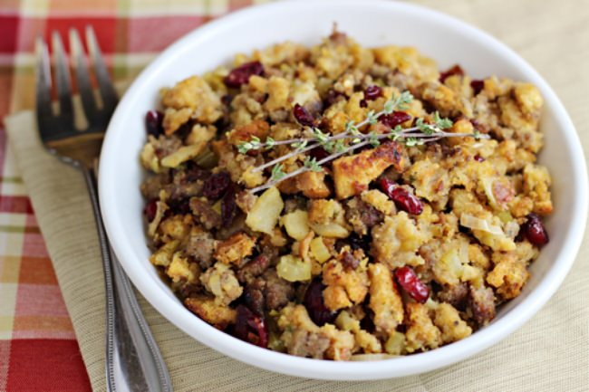 Cornbread Sausage Stuffing with Apples & Cranberries
