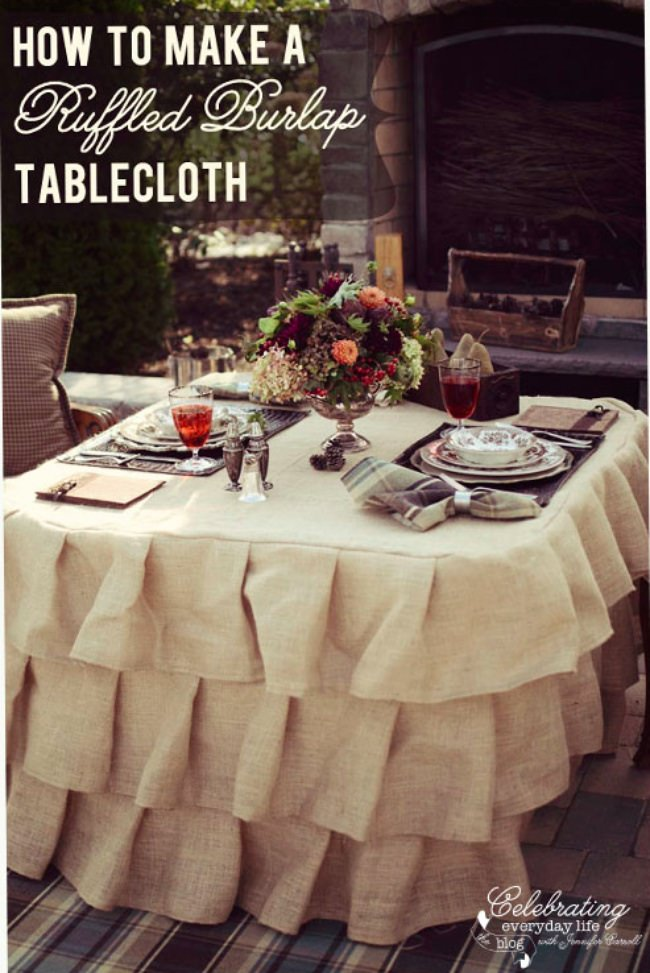 Burlap and Ruffle Tablecloth Tutorial