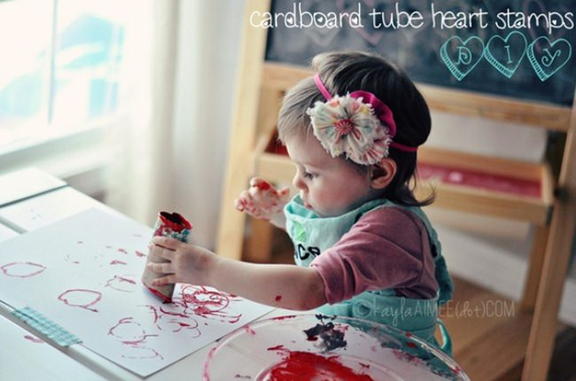 DIY Heart Stamping with Cardboard Tubes