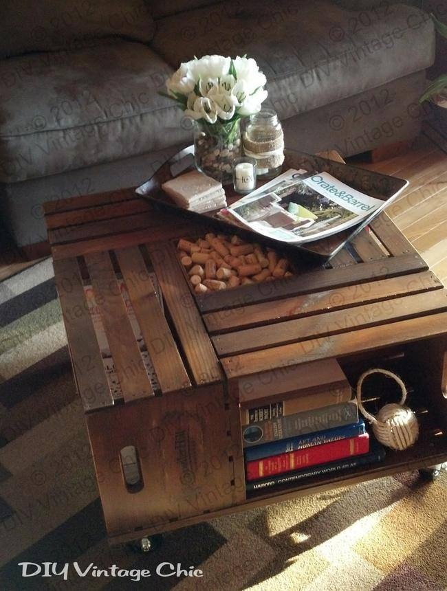 DIY Vintage Crate Coffee Table