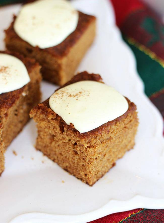 Gingerbread Snack Cake with Lemon Cream Cheese Frosting