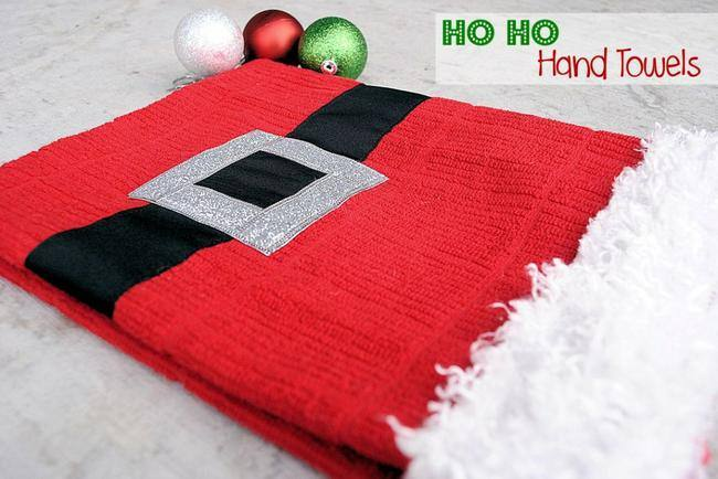 Santa Suit Hand Towels {frugal christmas presents}