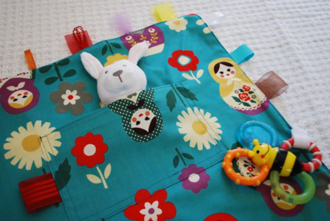 Baby Toy Blanket With Velcro Loops
