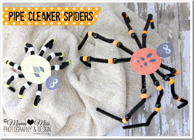 Pipe Cleaner Spiders {free printable}