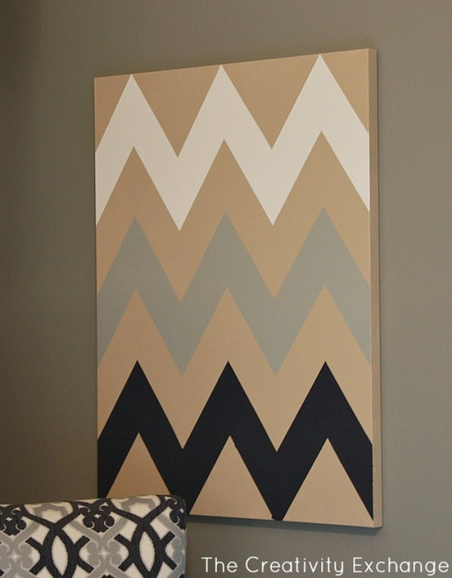 DIY Multi-Colored Chevron Wall Art {free stencil}