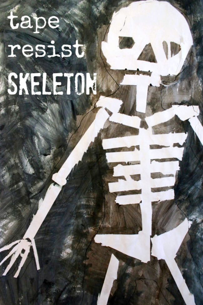 Tape Resist Skeleton Painting