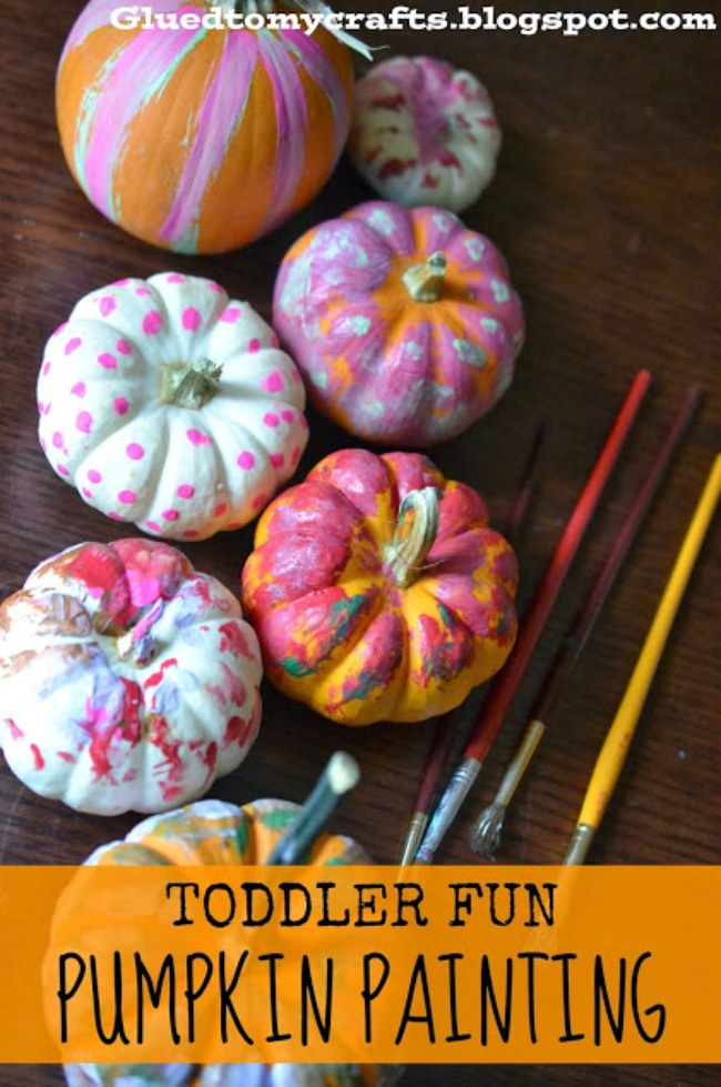 pumpkin painting with toddler