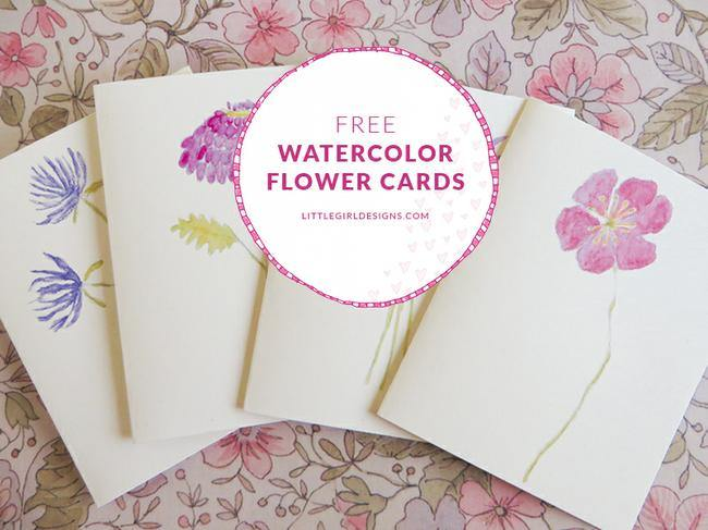 Free Watercolor Flower Cards