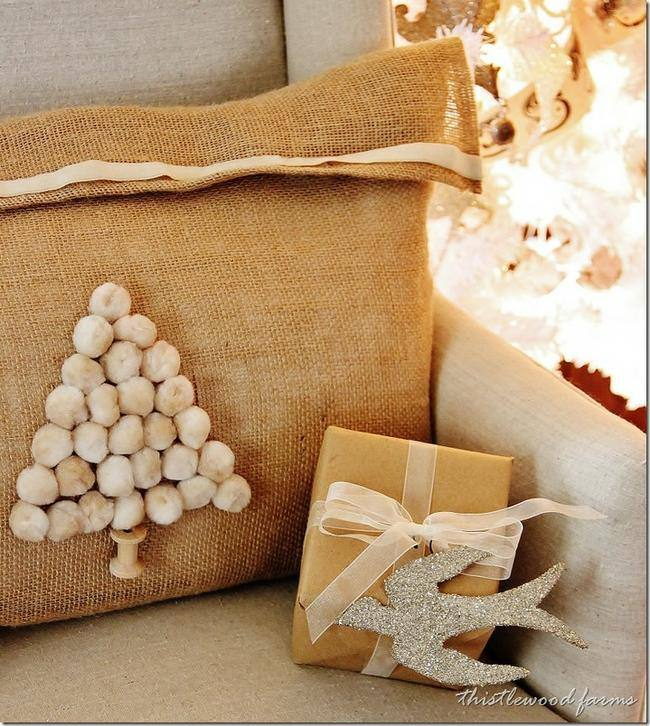 Pom Pom Christmas Tree Pillow
