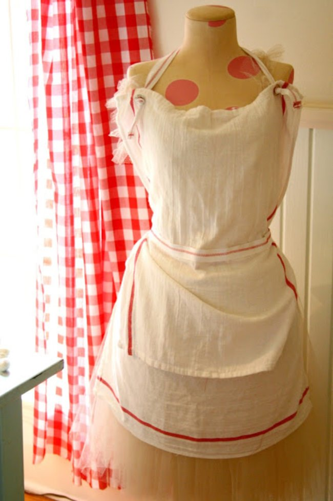 French Inspired Tea Towel Apron