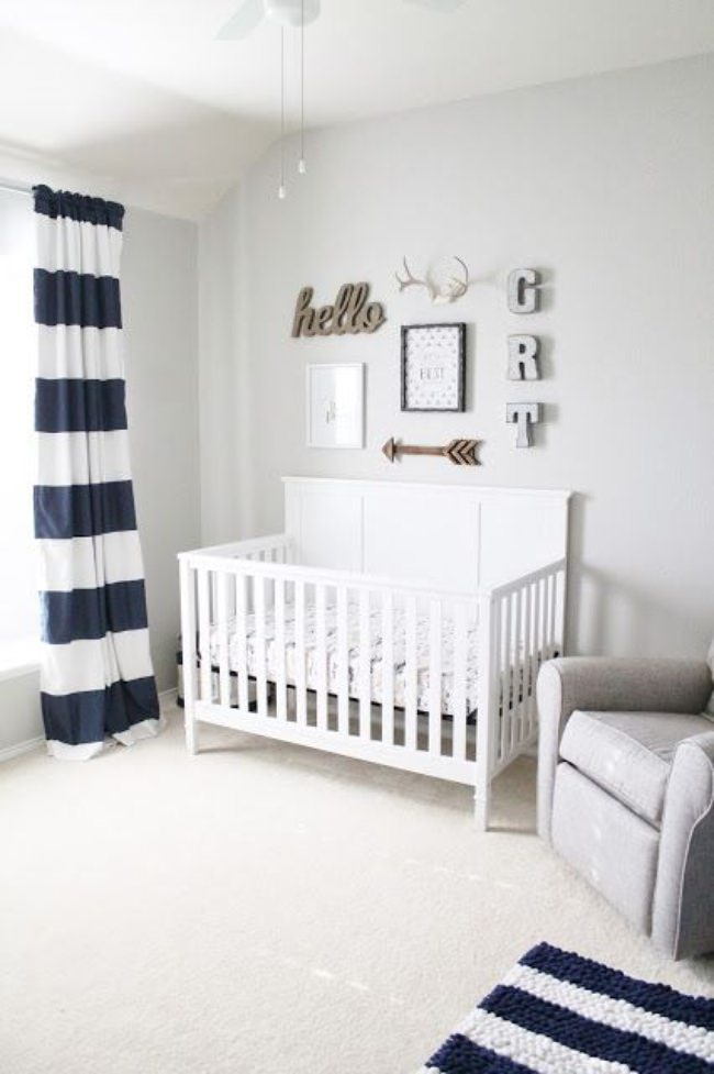 white & navy striped nursery