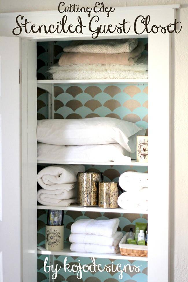 Aqua and Gold Stenciled Closet