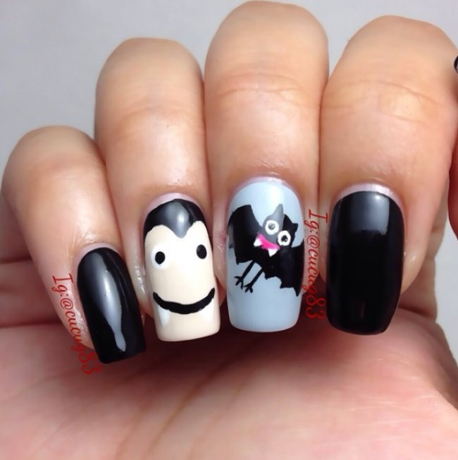 vampire and sidekick halloween nails