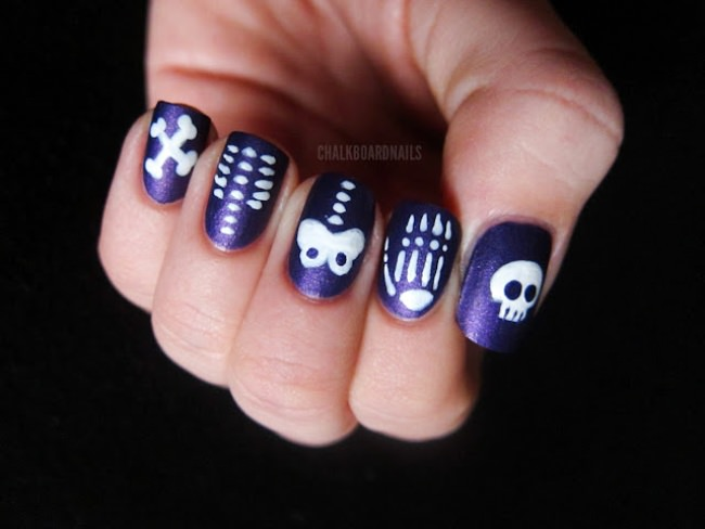 skittle skeleton halloween nails