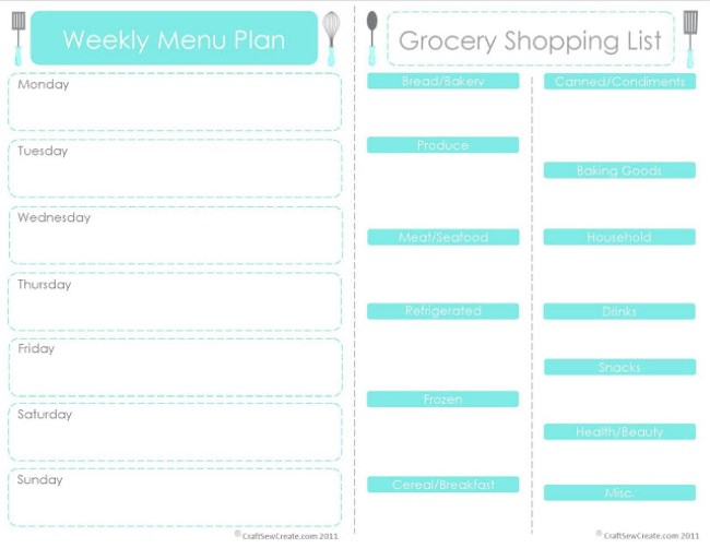 Printable Menu Plan and Shopping List {Printable Worksheets}