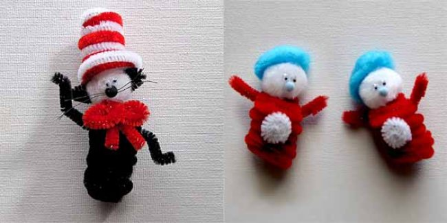 Dr. Seuss Cat in the Hat Craft {puppet crafts}