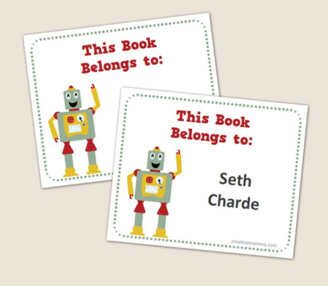 Customizable Robot Book Labels