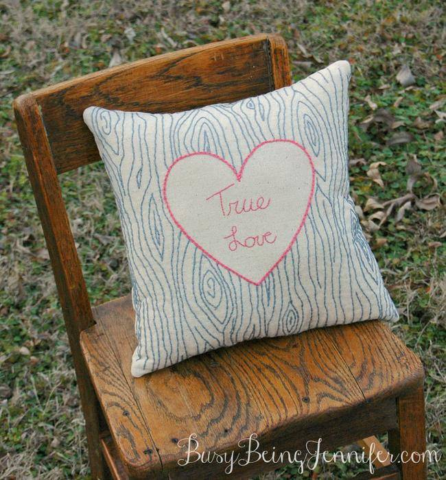 True Love Hand Stitched Pillow