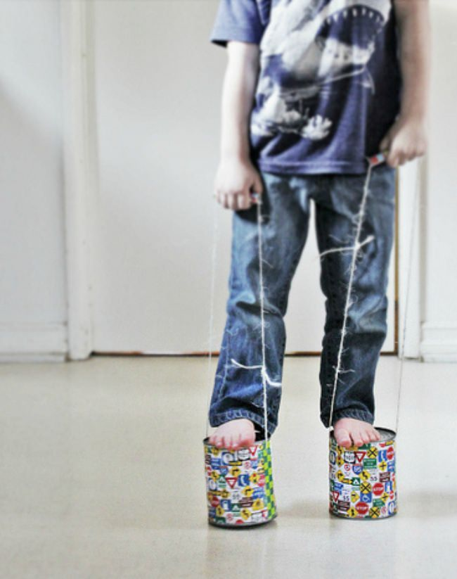 Tin Can Stilts {DIY Toys}