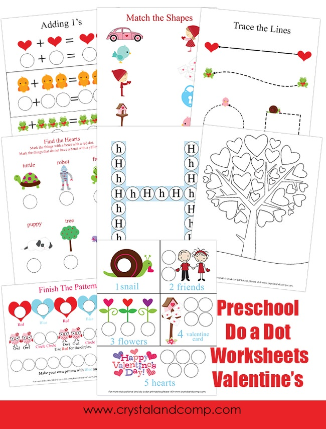 Preschool Do a Dot Valentine Worksheets