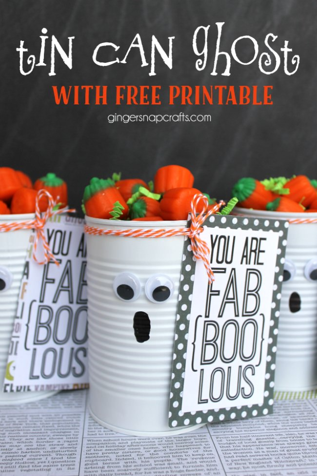 Tin Can Ghost with Free Printable #gingersnapcrafts #halloween-png