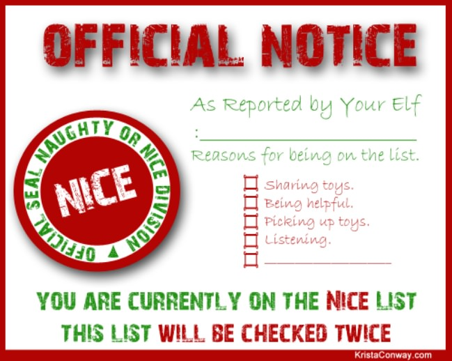 Elf on the Shelf Nice List Certificate {free printable}