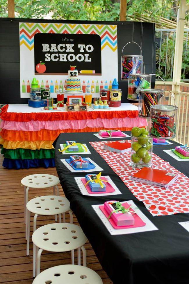 Rainbow Chevron Back to School Party