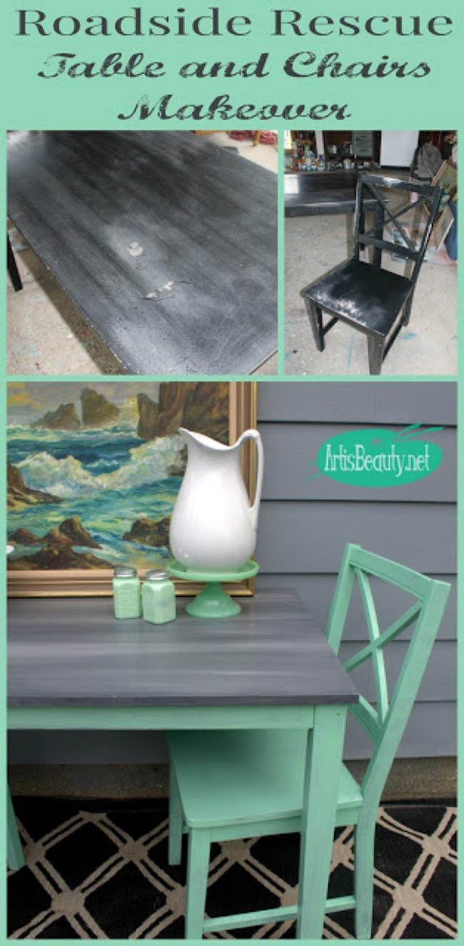 mint and gray roadside rescue dumpter dive table and chairs painted makeover artisbeauty-net karin chudy diy repurposed paint cari cucksey-jpg