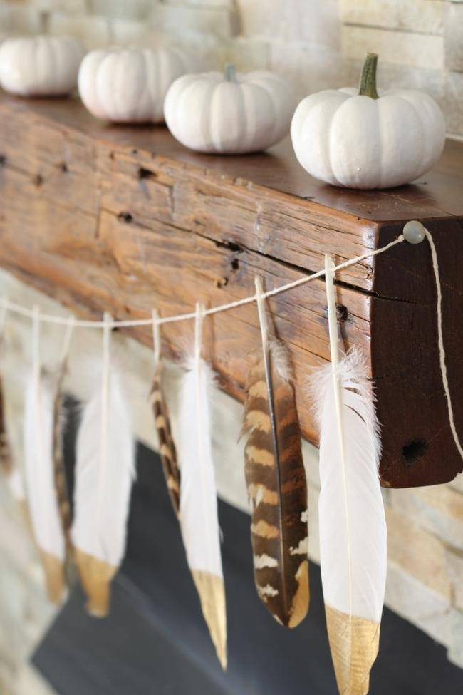 DIY Gold Tip Feather Garland