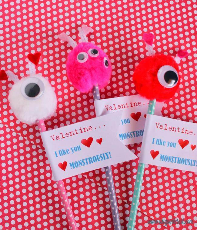 Valentine Monster Pencil {free printable}