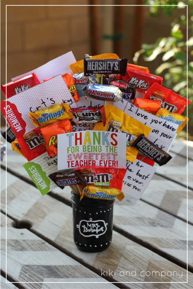 Sweetest Teacher Candy Bouquet {free printable}