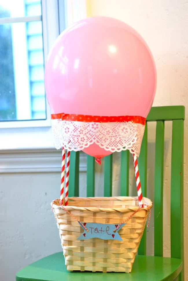 Hot Air Balloon Valentine Basket