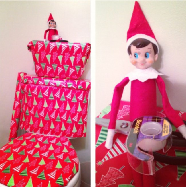 Elf on the Shelf Ideas, funny gift wrapped toilet!