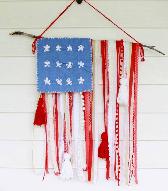 Rustic Ribbon & Lace USA Flag