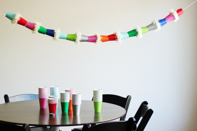 DIY Paper Cup Garland {birthday decorations}