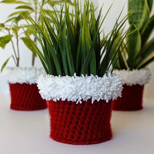 Holiday Crochet Planter Cover
