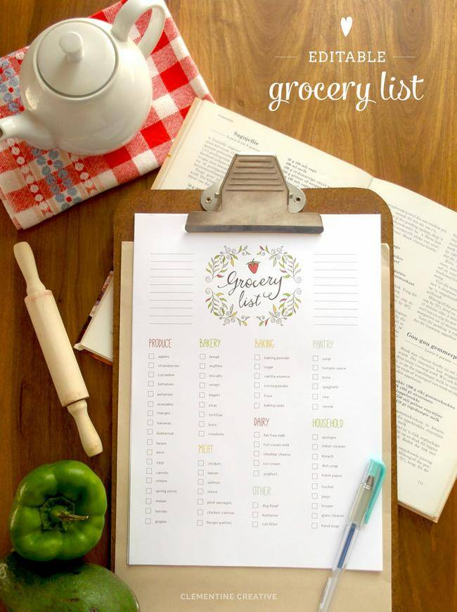 Free Editable Grocery List