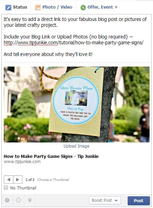 Add a Blog Link or Upload Photos to Tip Junkie Facebook Page