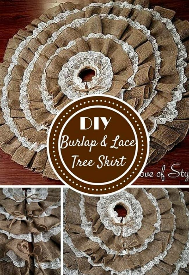 DIY New Sew Burlap & Lace Christmas Tree Skirt