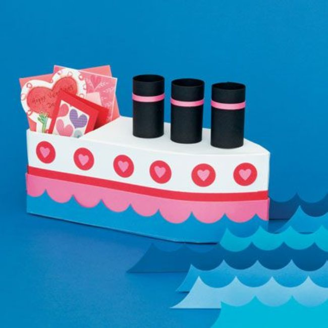 love boat set sail to make this adorable love boat valentine box from a half gallon carton cereal box and construction paper - Kids Valentine Boxes