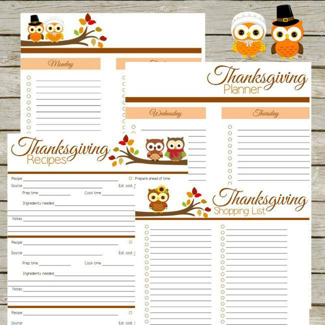 Free Thanksgiving Planner Printables