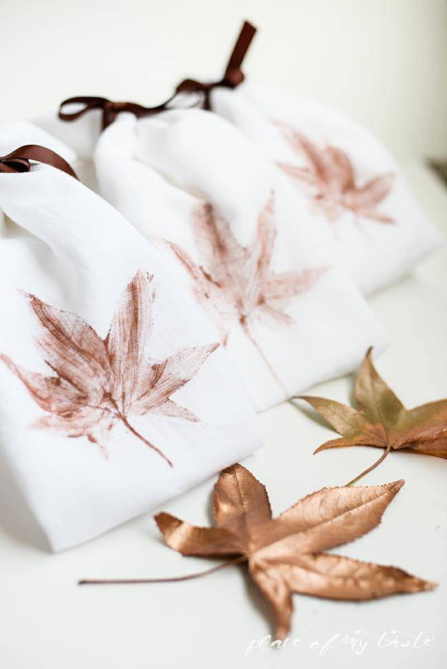 Leaf Stamped Kitchen Towels