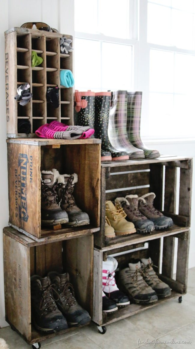 Vintage Crate Boot Rack {diy}