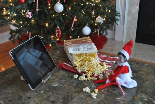 Movie Night with Elf on the Shelf!