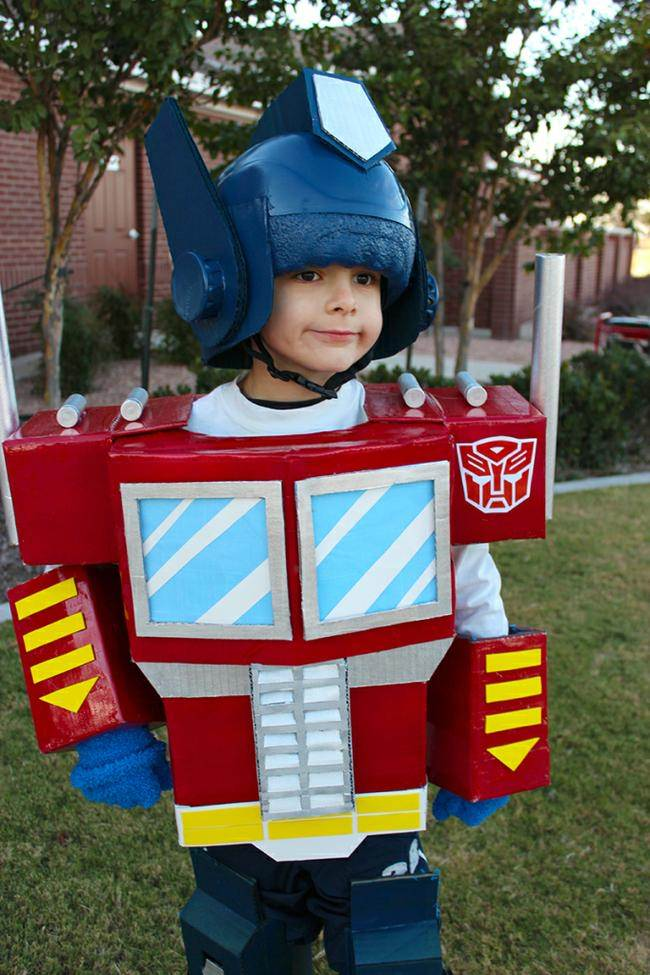 Transformers Optimus Prime ~ If you have a Transformer fan then this dress -up/Halloween costume is for you. It's made from a bike helmet and cardboard so it ...